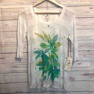 NWT Miraclebody Leaf blouse by Miraclesuit